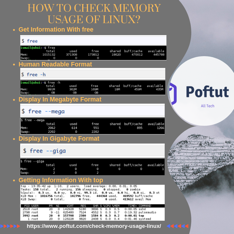 How To Check Memory Usage Of Linux? Infografic