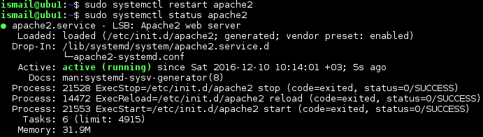 Start Apache with systemctl Command