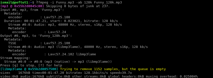 Set Bitrate Of Audio