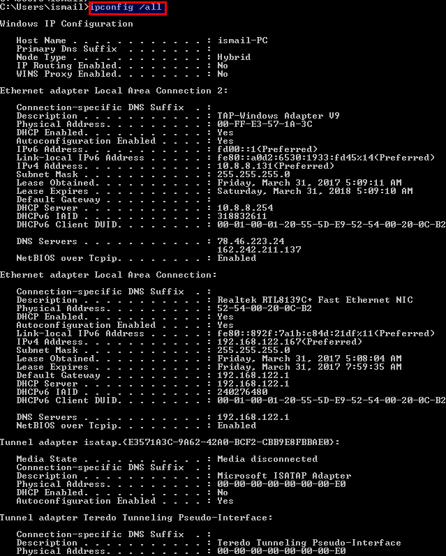 List DNS, DHCP Server and Detailed Information