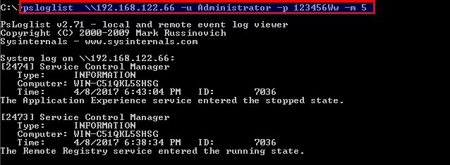 List Event Logs On The Remote System With PsLogList