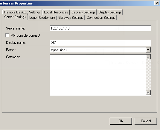 Remote Server Connection Properties