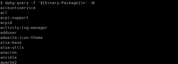 List Installed Packages Names Only with dpkg-query