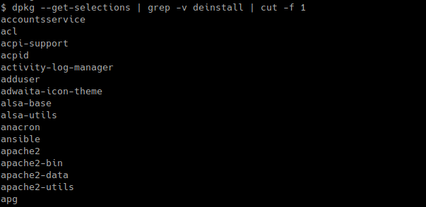 List Installed Packages Names Only with dpkg