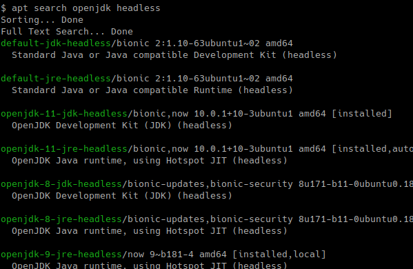 Search OpenJDK Packages