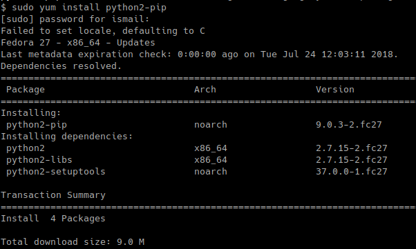 Install pip Package For Python2 In CentOS, RHEL, Fedora