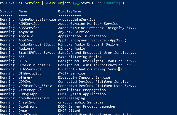 List Only Currently Running Services