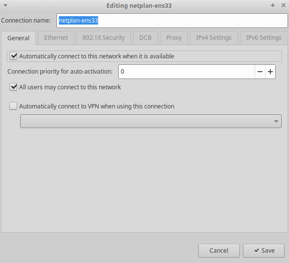 Edit Network Connection