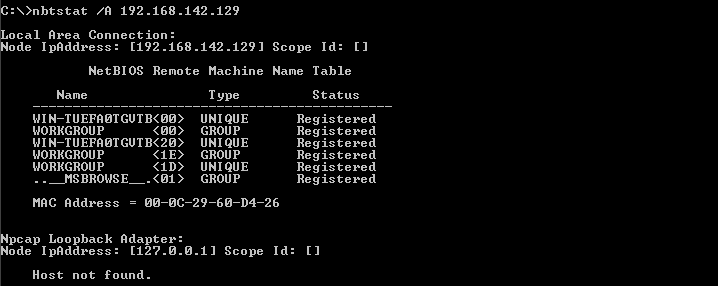 List NetBIOS Name Table Of Given Remote IP Address