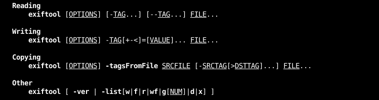 exiftool Syntax