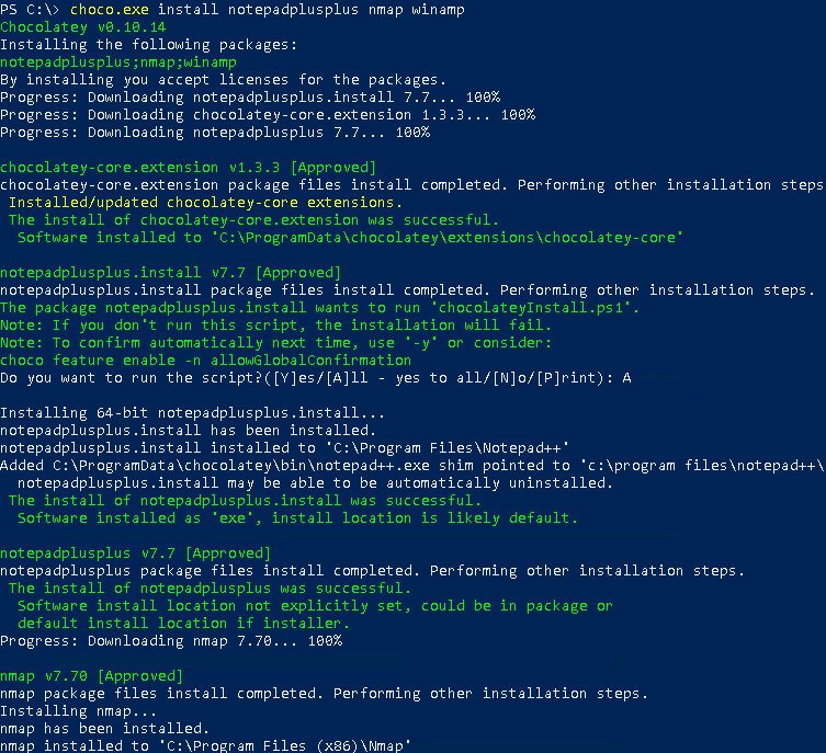 Install Multiple Packages, Programs with Chocolatey