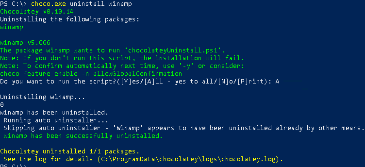 Remove/Uninstall Packages, Programs with Chocolatey