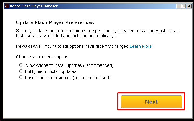 Set Flash Player Update Preference