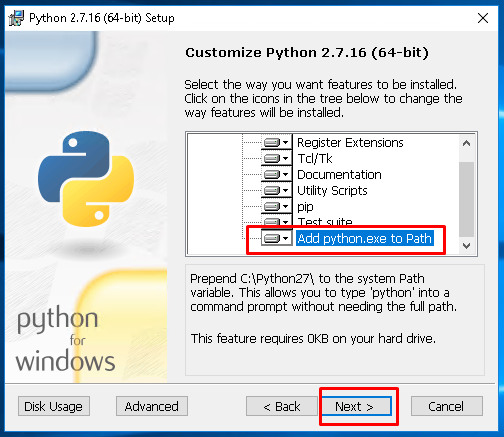 Select Features To Install Python2