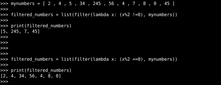 Lambda with filter() Function
