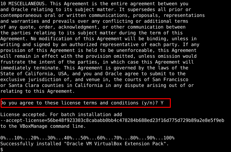 VirtualBox Extension Pack License Agreement