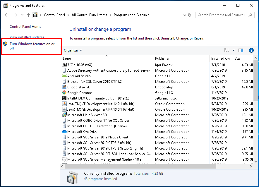 Windows Features From Control Panel