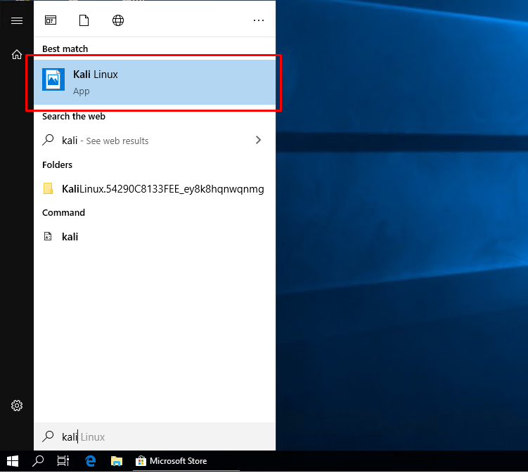Start Kali Linux with WSL