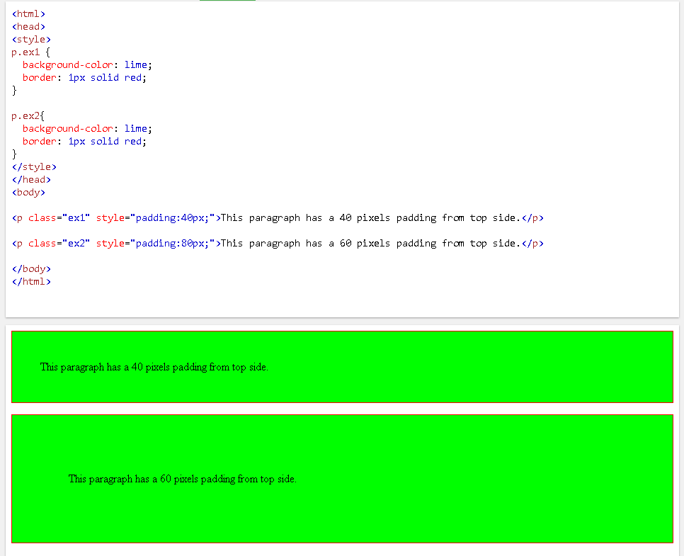 Padding As Inline CSS Inside HTML Element Style Attribute