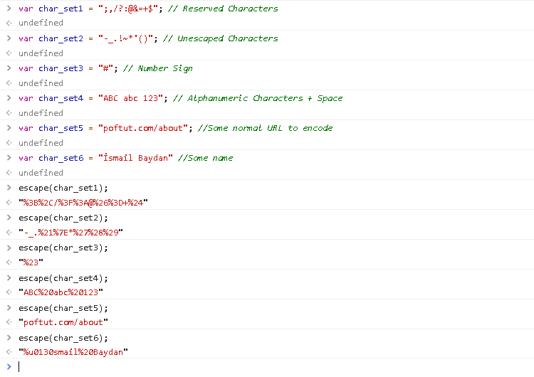 Encode with escape() Function
