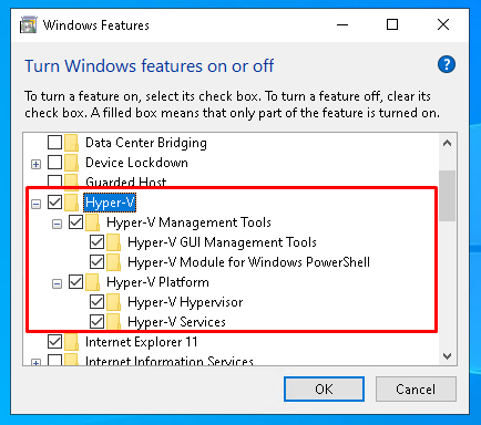 Install Hyper-V From Windows Features